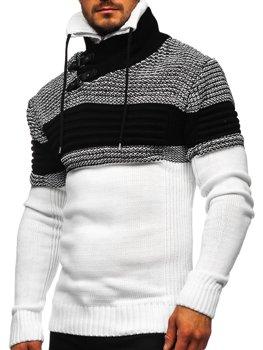 Bolf Herren Warmer Pullover mit Stehkragen Weiß  2002
