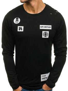 Bolf Herrensweatshirt ohne Kapuze Schwarz 0745