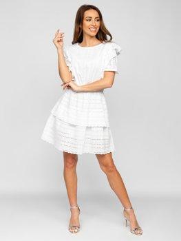 Damen Kleid aus Baumwolle Boho Style Weiß  2426