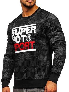 Bolf Heren Sweatshirt ohne Kapuze mit Motiv Schwarz  DD391