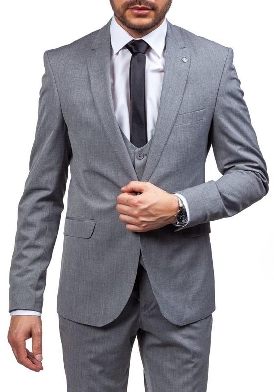 Bolf Herren Anzug Grau 5005