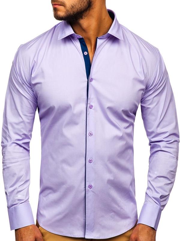 Bolf Herren Hemd Elegant Langarm Violett  TS50-1