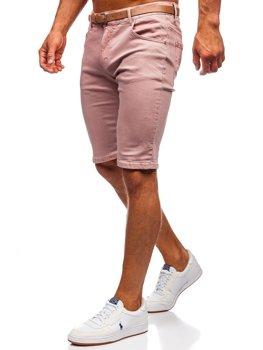 Bolf Herren Jeans Shirts mit Gürtel Rosa  KG3585-145