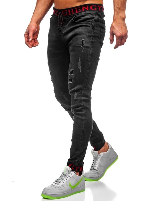 Bolf Herren Jeanshose Jogger Pants Schwarz  KA1131
