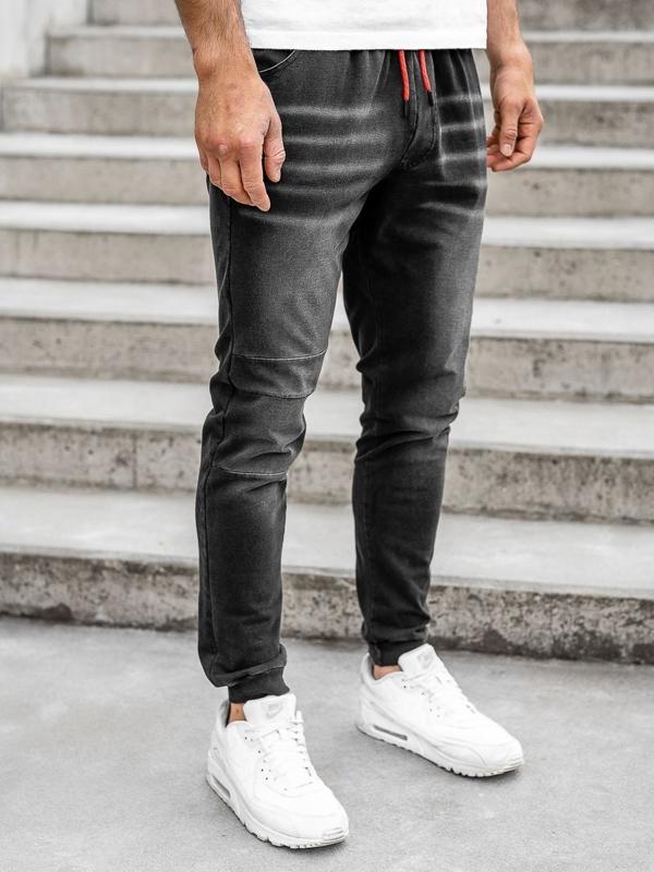 Bolf Herren Jeanshose Jogger Pants Schwarz  KK1101