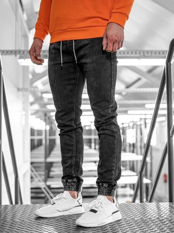 Bolf Herren Jeanshose Jogger Schwarz  KA1072-2