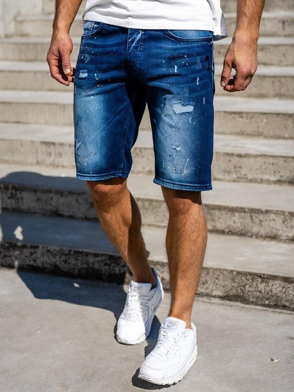 Bolf Herren Kurze Jeanshose Dunkelblau  3001