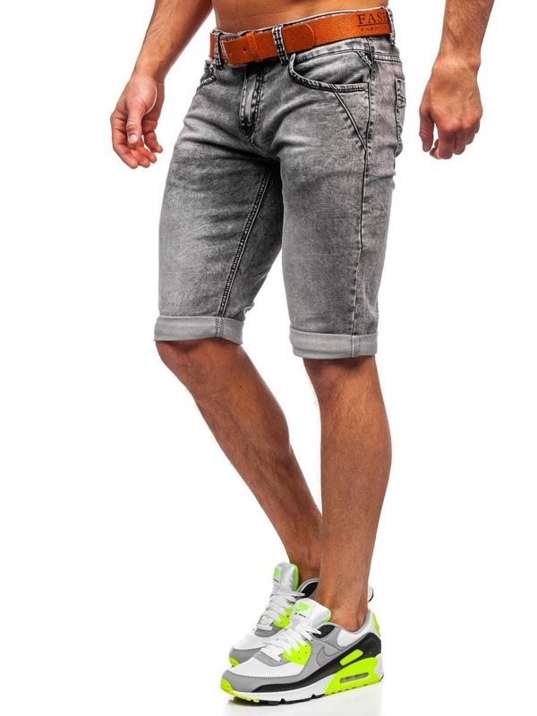 Bolf Herren Kurze Jeanshose mit Gürtel Schwarz KR1211