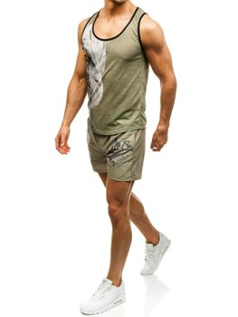 Bolf Herren Strandkleidung : T-Shirt + Badehose Grün-Dunkelblau   2117