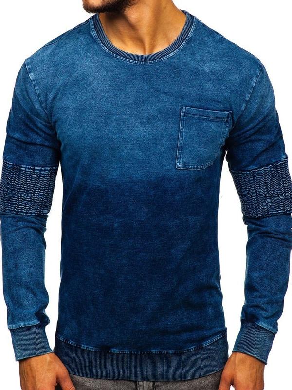 Bolf Herren Sweatshirt ohne Kapuze Blau  KK1029