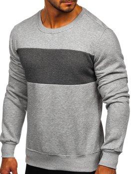 Bolf Herren Sweatshirt ohne Kapuze Grau-Schwarzgrau  2022