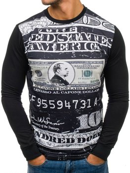 Bolf Herren Sweatshirt ohne Kapuze mit Motiv Schwarz Bolf 70