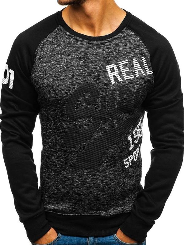 Bolf Herren Sweatshirt ohne Kapuze mit Motiv Schwarz  DD229