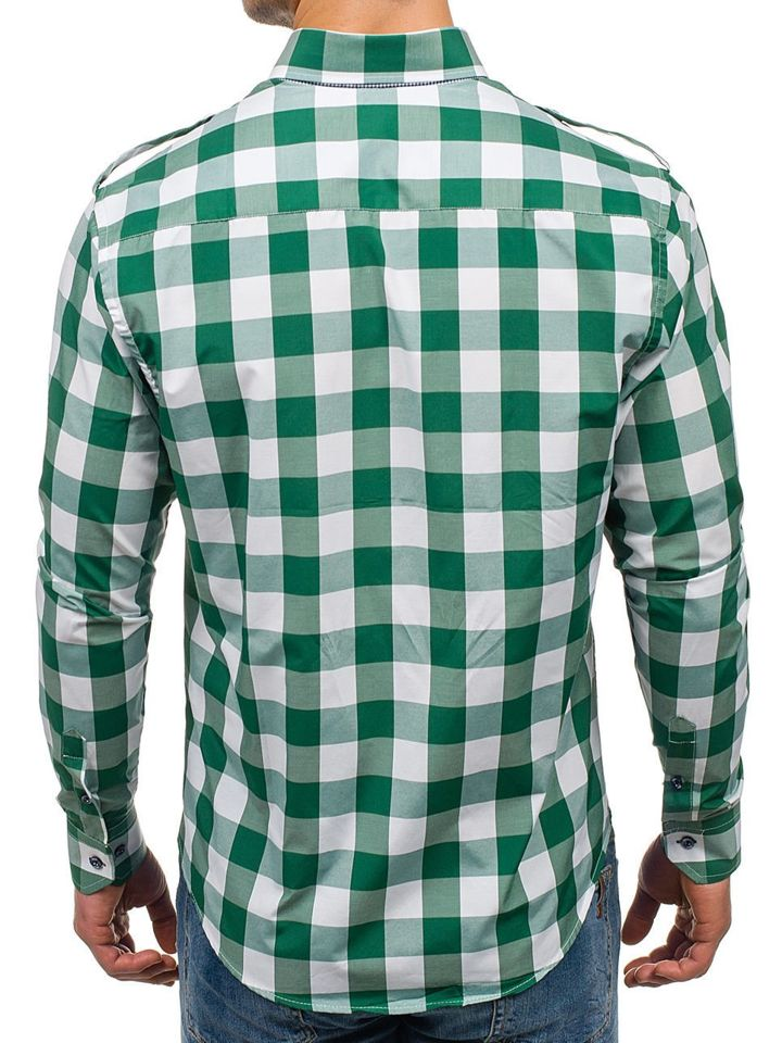 Bolf Herren Hemd Kariert Langarm Grün Weiß 2779