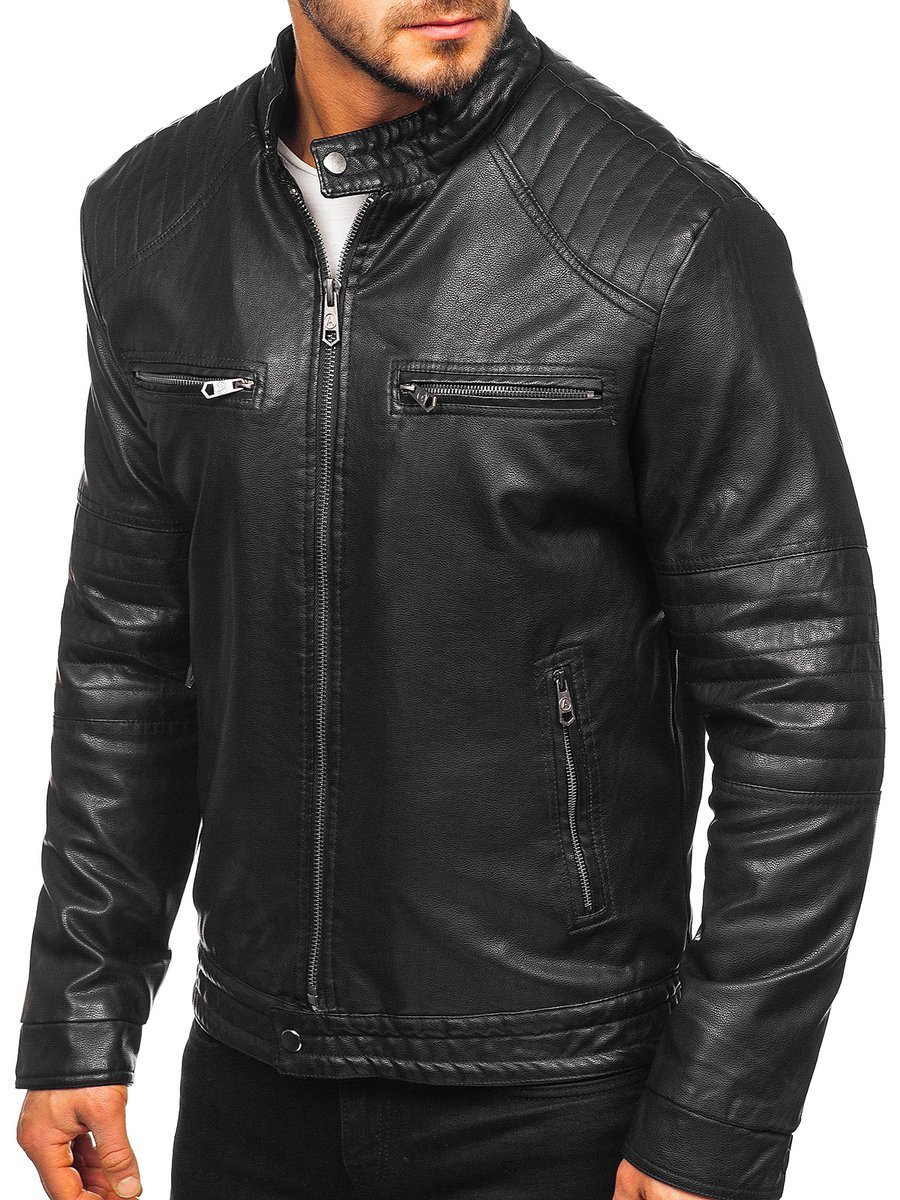 Männer Verstärktes Fleece Kunstlederjacke Biker Warme Mantel Übergangsjacke
