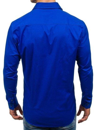 Bolf Herren Hemd Elegant Langarm Kobaltblau  GEM01