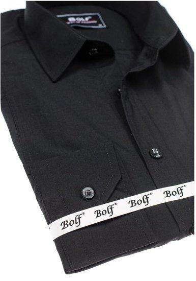 Bolf Herren Hemd Elegant Langarm Schwarz  6944