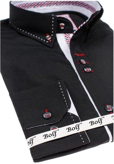 Bolf Herren Hemd Elegant Langarm Schwarz  6948