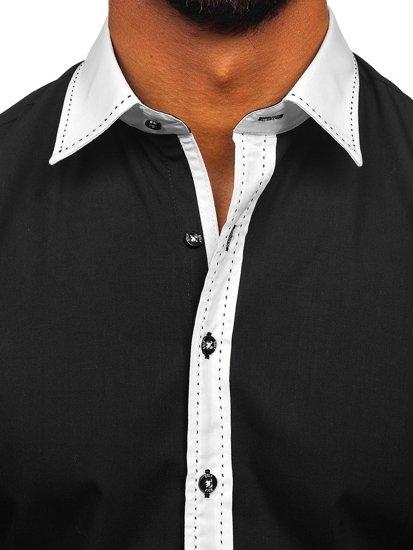 Bolf Herren Hemd Elegant Langarm Schwarz Bolf 6882