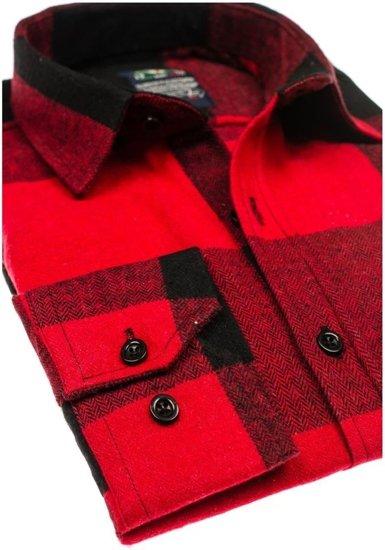 Bolf Herren Hemd Flanell Langarm Rot  801