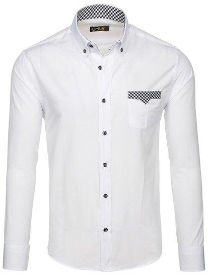 Bolf Herren Hemd Langarm Elegant Weiß 4711