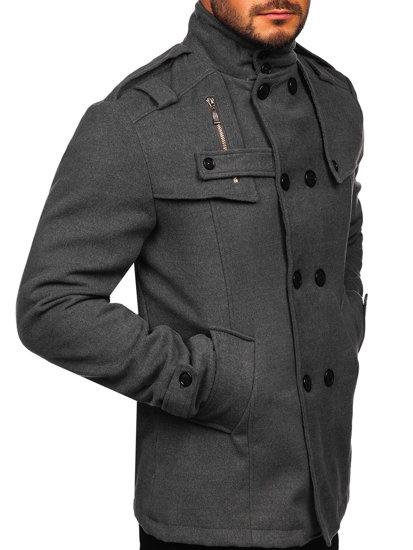 Bolf Herren Mantel Grau  8857