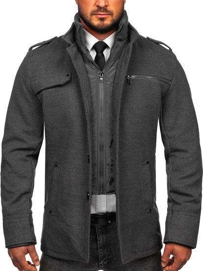 Bolf Herren Mantel Grau Bolf 8856