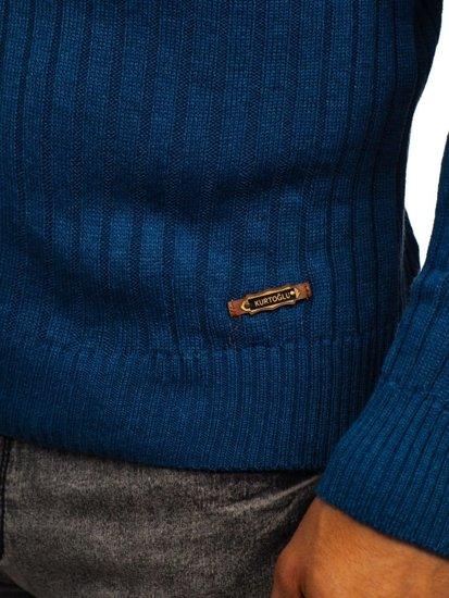 Bolf Herren Pullover Rollkragen Blau  3070