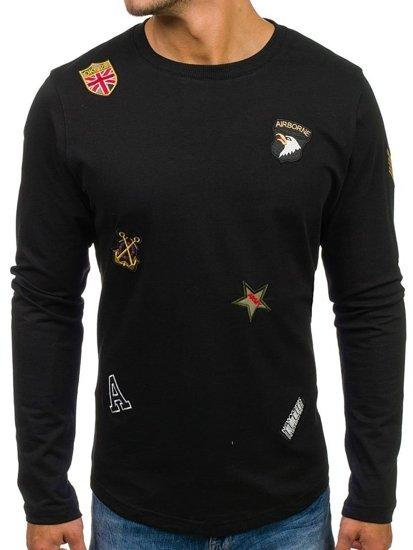 Bolf Herren Sweatshirt ohne Kapuze Schwarz 0739