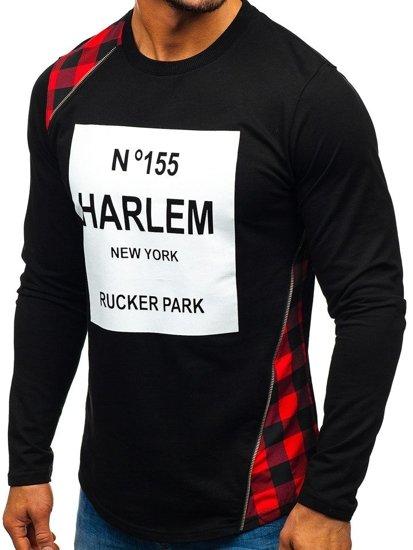 Bolf Herren Sweatshirt ohne Kapuze Schwarz-Rot 0756