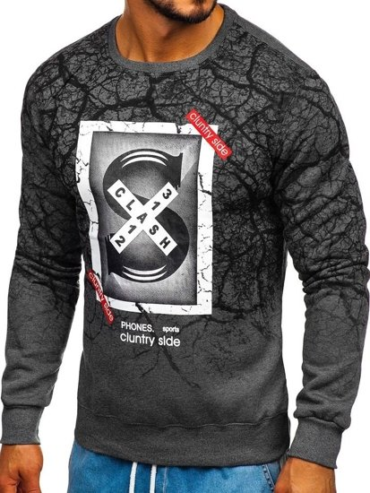 Bolf Herren Sweatshirt ohne Kapuze Schwarzgrau  DD685