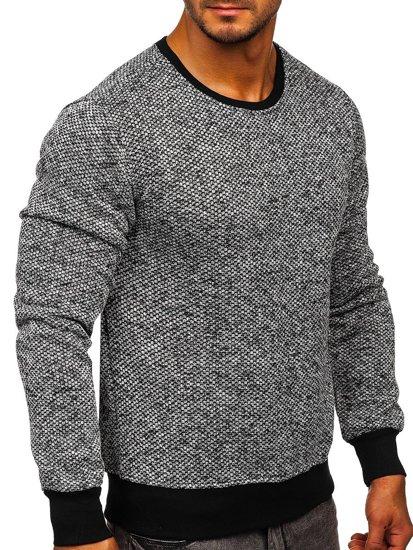 Bolf Herren Sweatshirt ohne Kapuze Weiß-Schwarz 2001-3