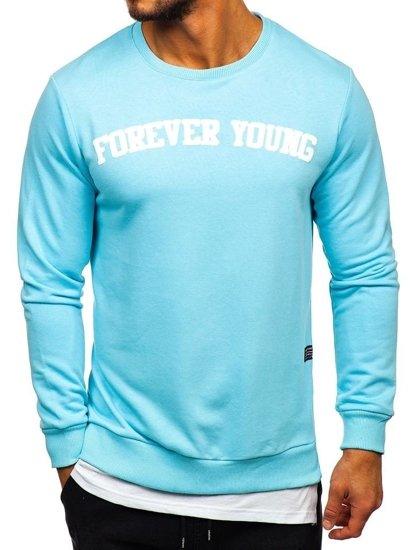 Bolf Herren Sweatshirt ohne Kapuze mit Motiv Hellblau  11116