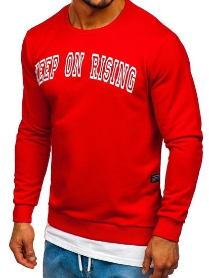 Bolf Herren Sweatshirt ohne Kapuze mit Motiv Rot  11114