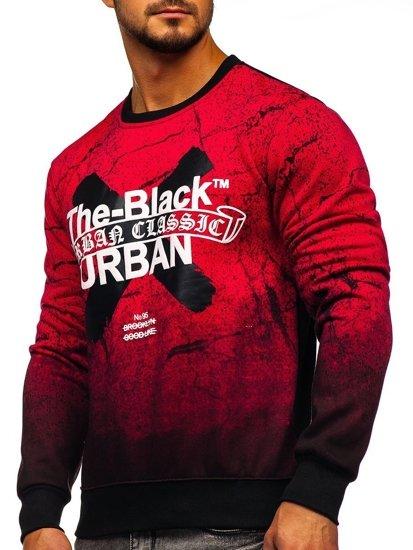 Bolf Herren Sweatshirt ohne Kapuze mit Motiv Rot  DD259