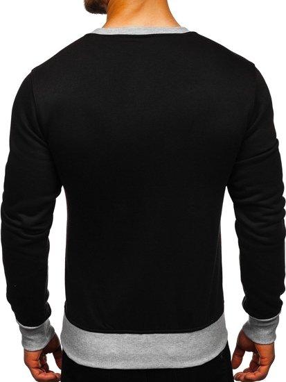 Bolf Herren Sweatshirt ohne Motiv Schwarz  J10