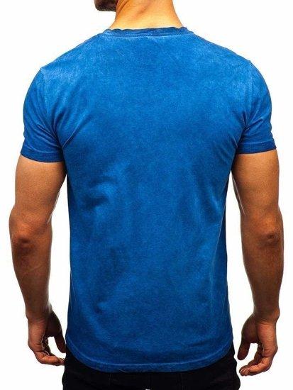Bolf Herren T-Shirt ohne Motiv Blau  100728