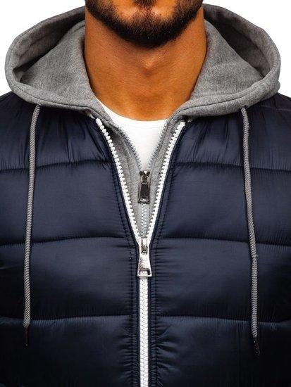Bolf Herren Übergangsjacke Sport Jacke mit Steppmuster Dunkelblau  JK395