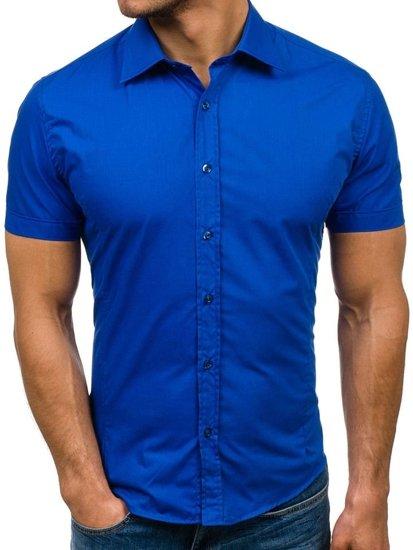 Bolf Herrenhemd Elegent Kurzarm Mittelblau 7501 80ce4f4640