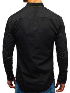Bolf Herren Hemd Elegant Langarm Schwarz-Braun  4708