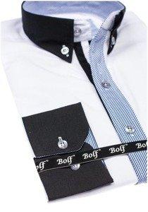 Bolf Herren Hemd Elegant Langarm Weiß  6946