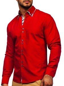 Bolf Herren Hemd Langarm Elegant Rot 4704