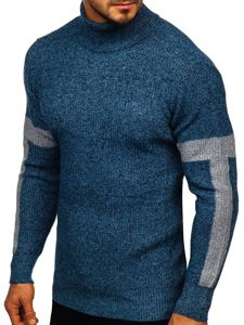 Bolf Herren Pullover Rollkragen Blau  H1927