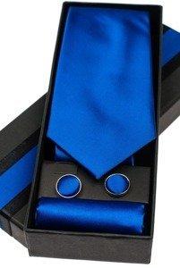Bolf Herren Set Krawatte, Manschettenknöpfe, Einstecktuch Mittelblau  KSP01