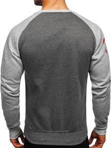 Bolf Herren Sweatshirt ohne Kapuze Grau-Anthrazit  J09
