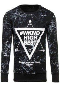 Bolf Herren Sweatshirt ohne Kapuze mit Motiv Schwarz  J40